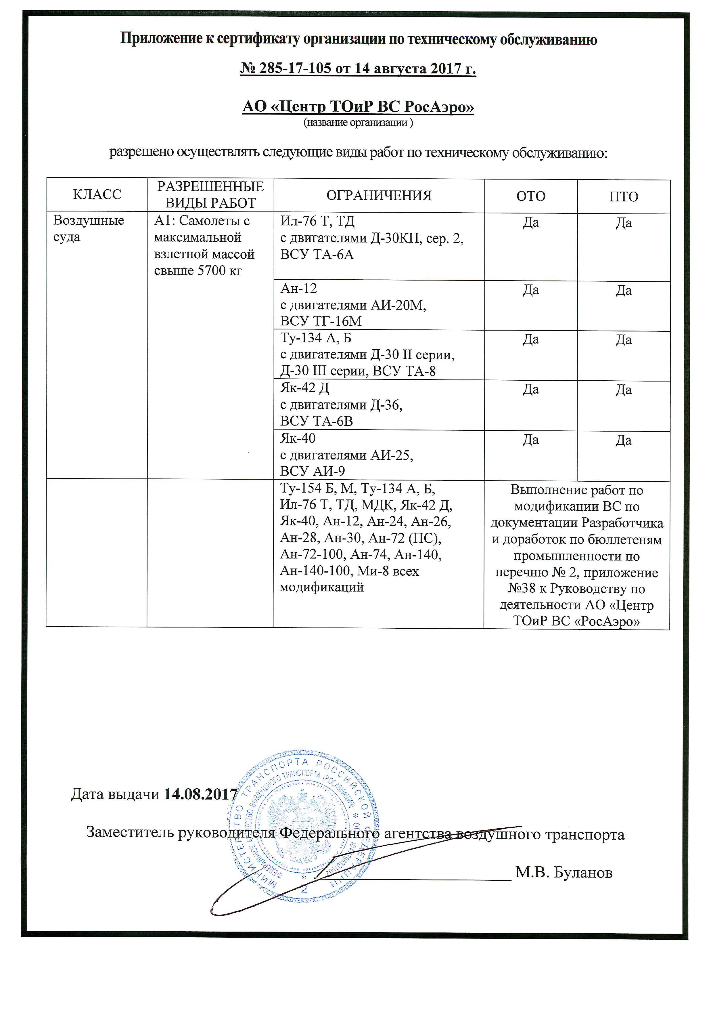 Приложение к сертификат № 285-17-105 Министерства транспорта РФ (ФАВТ) выданный организации по техническому обслуживанию