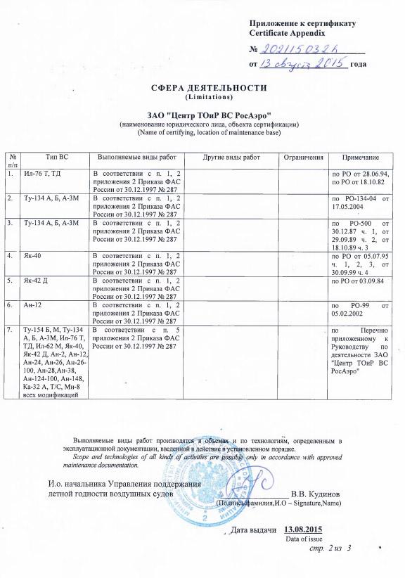 Приложение к сертификату соответствия Минтранса России на право производить ТО авиационной техники, стр.2